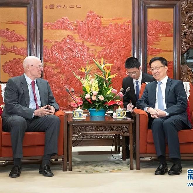 国务院副总理韩正在中南海紫光阁会见美